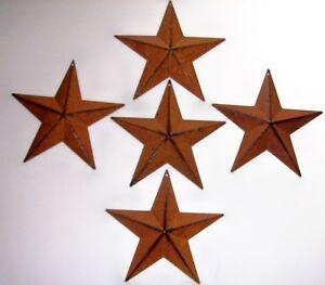 SET-OF-5-Rust-BARN-STARS-5-5-034-Tin-PRIMITIVE-COUNTRY-AMERICANA-WALL-HANG-5-point