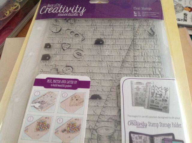 Docrafts~Haberdashery ~ A5 Creativity Essentials~Stamp Set & Storage Pocket