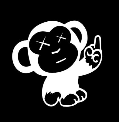 JDM Funny Window Sticker Car Laptop Monkey Middle Finger Vinyl Die Cut Decal