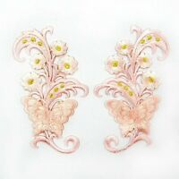 """Pink Flower Butterfly 2.5""""x4.2"""" Pair Iron On Patch Embroidered Appliques I0623"""