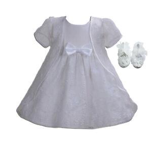 Battesimo-Bambina-Festa-Vestito-Mantella-e-Scarpe-Bianco-Avorio-0-3-6-9-12-18