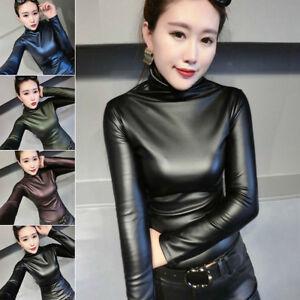 347342b3ab6 Details about 4 Color Women Slim Warm PU Leather Tops Winter Turtleneck  Blouse Top Punk S-XXL