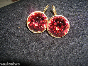 Details About Rare Swarovski Red Orange Bella Crystal Earrings Discontinued Collectible