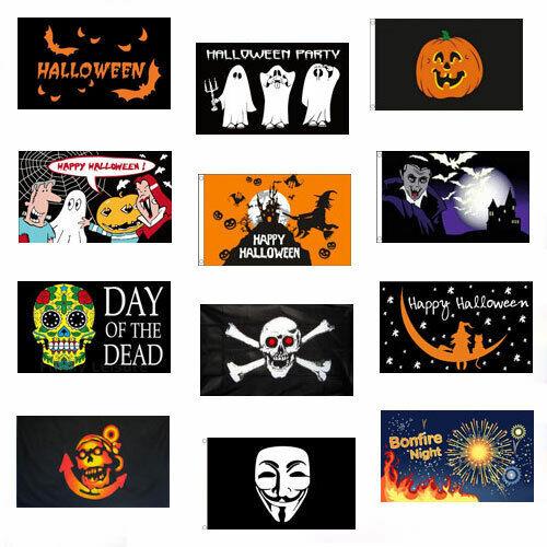 HAPPY HALLOWEEN /& BONFIRE NIGHT FLAGS 5/' x 3/' Guy Fawkes Vampire Pumpkin etc