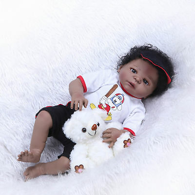 "23/"" Black Dolls Silicone Full Body Reborn Baby Dolls Realistic Boys Toddler Gift"