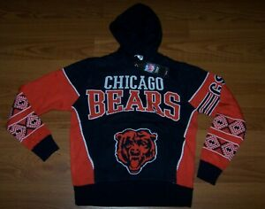 Size L 14/16  Boys Ugly Christmas Hooded Sweater Chicago Bears NFL Team Apparel