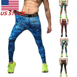 0630a9881d Details about US Mens Gym Sport Jogger Tight Compression Layer Pants Camo  Long Leggings