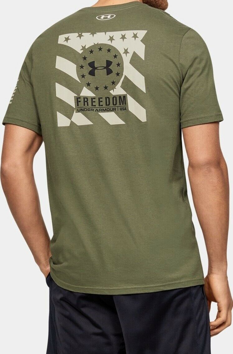 Men/'s Under Armour Freedom Free /& Brave T-Shirt.Size:XL Color:Marine Od Green