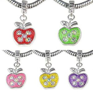 Apple-Crystal-Silver-Dangle-European-Spacer-Charm-Bead-For-Bracelet-Necklace