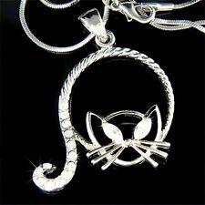 w Swarovski Crystal CAT Kitty Kitten Cute Pet Jewelry Charm Pendant Necklace New