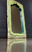 ANTIQUE/VINTAGE INDIAN FURNITURE.TEAK TEMPLE MIRROR. ART DECO. JADE ON IVORY.