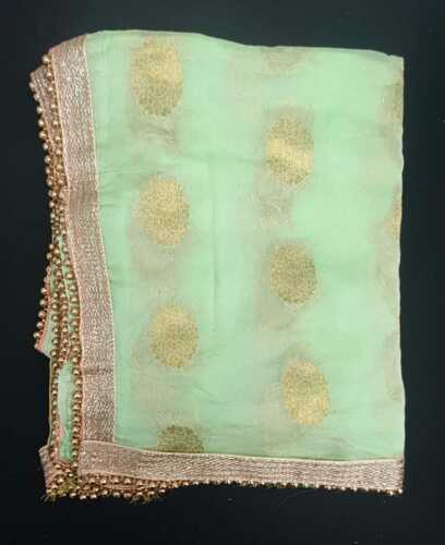 Fancy Chiffon Duppatta Mehndi Wedding Scarf Golden Duppatta Heavy lace Work