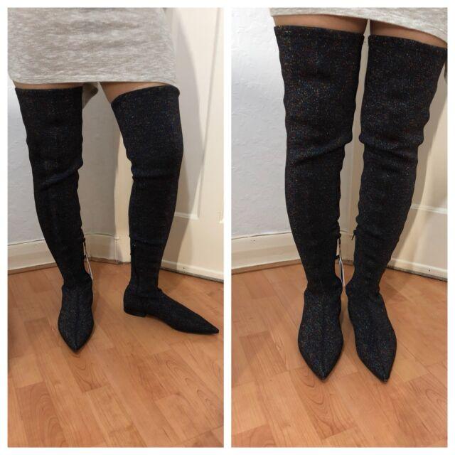 e87fe0f2370 Zara Black Multicoloured Glitter Sparkle Over-the-knee Stretch BOOTS ...