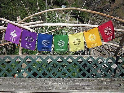 7 CHAKRAS NON-TRADITIONAL HEALING/BALANCING/STIMULATING POLY PRAYER FLAGS