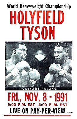 "Evander Holyfield vs Mike Tyson 12x18"" Nov 8, 1991 Fight Print - Not A Poster"
