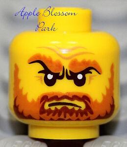 Neuf-Lego-Pirate-Minifigurine-Tete-Chateau-Chevalier-Roi-W-Orange-Marron-Barbe