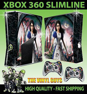 XBOX 360 SLIM ALICE MADNESS RETURNS WONDERLAND STICKER SKIN & 2 X PAD SKINS