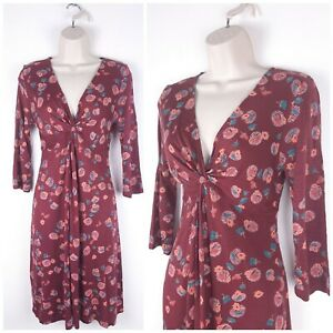 Fat-Face-Mulberry-Red-Floral-Jersey-Dress-UK10-Knot-Bust