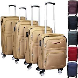 LUXE Tissu Valise de voyage Sac M L XL XXL SET Trolley 4 EXTRA LARGEUR Rouleaux