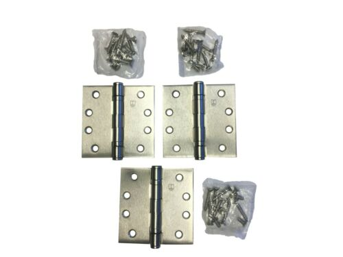 """Lot of 3 Hager BB1279 4/"""" x 4/"""" Five Knuckle Ball Bearing Hinges Satin Nickel"""