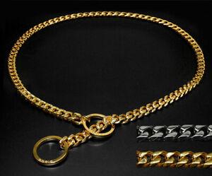 Stainless-Steel-Chain-Dog-Collar-Training-Slip-Choker-Heavy-Duty-Rottweiler-Gold