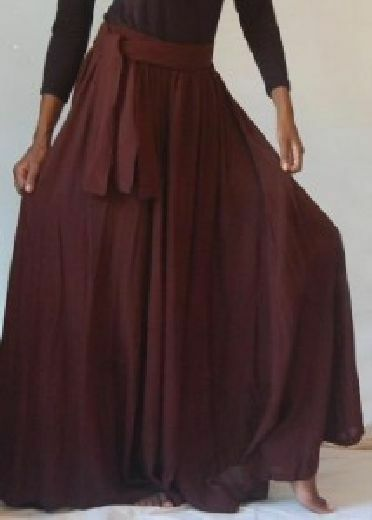 Brown skirt maxi a line sash M L XL OS 1X 2X 3X 4X belt classic plus or one size