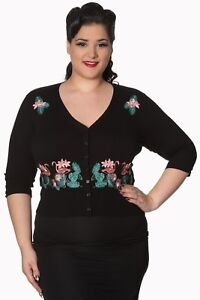 Up Flamingo Rockabilly Plus Cardigan Banned Size Pin Apparel By Floral Vintage RE7q1