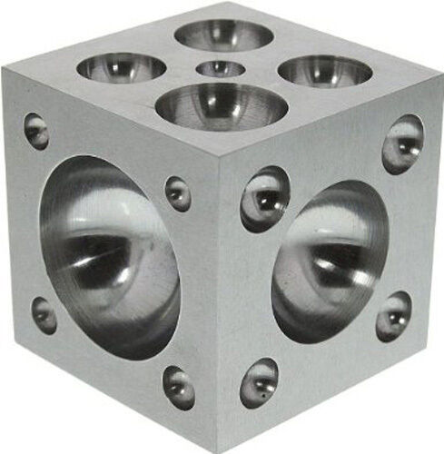 "Dapping Block with Polished Stainless Steel Cavities, 2 x 2 x 2"" (da10)"