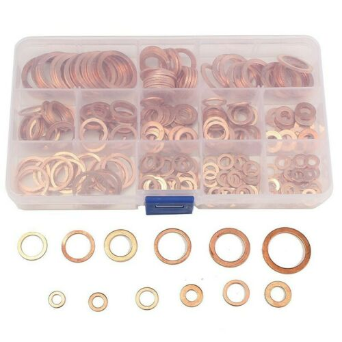 280pc Solid Copper Crush Washers Seal Sealing Flat Ring Gaskets 12Sizes Assorted