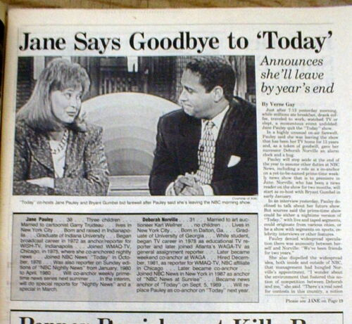 1989 display newspaper DEBORAH NORVILLE TakesOver4 JANE PAULEY on NBC TODAY SHOW