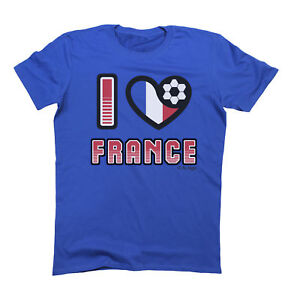 I LOVE FRANCE T-Shirt WORLD CUP 2018 Mens Ladies or Kids Football Family Flag