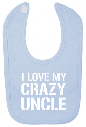 I Love Crazy Uncle Bib Christening Baby Shower gifts presents for niece nephew