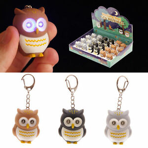 Bright LED Light Owl Keyring With Batteries Makes Hooting Sound Fun Novelty