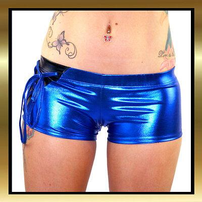 Juice Peach Metallic Wet Look Blue with Black Insert One Side Tie Shorts