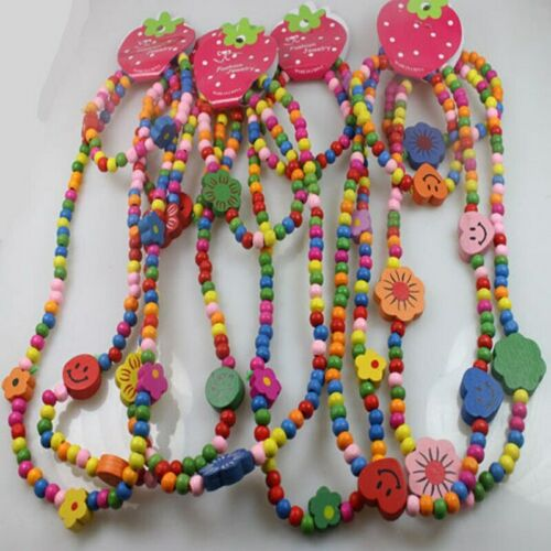 Bear Kitten Toddler//Kid Wooden Necklace Bunny Bracelet Set Butterfly