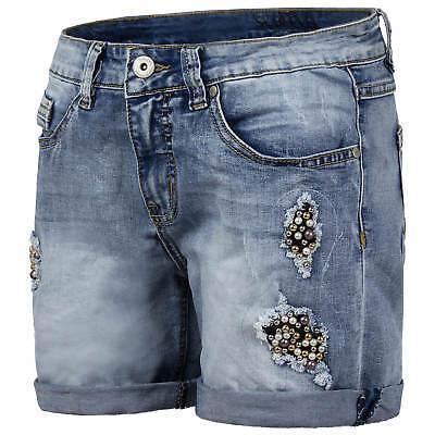 SUBLEVEL Damen Shorts Hotpants Kurze Hose Stonewashed Destroyed Effekte Perlen | eBay