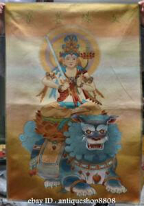 36-034-Tibet-Silk-Satin-Wenshu-Manjushri-Guan-Yin-Goddess-Ride-Lion-Thangka-Mural