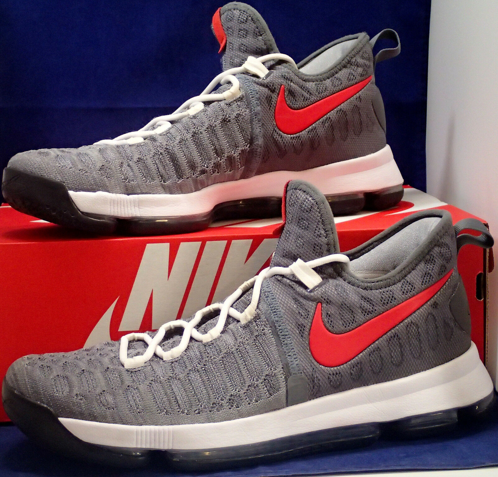 Nike KD 9 IX iD Grey Red White Kevin Durant SZ 12 ( 863695-992 )