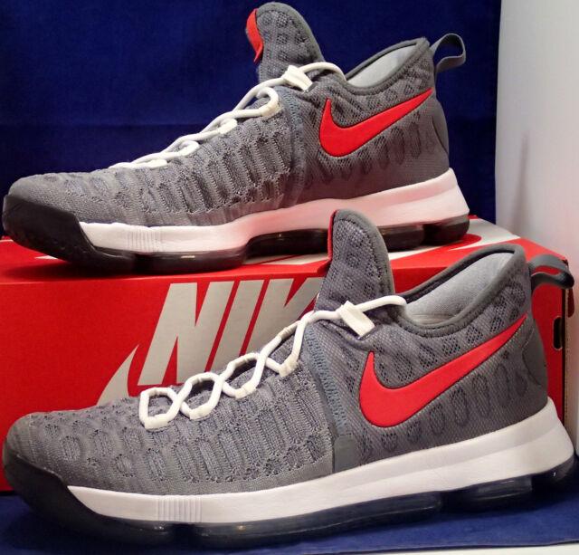 00b798886cc Nike KD 9 IX iD Grey Red White Kevin Durant SZ 12 ( 863695-992 )