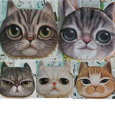 Hot Children Cute Cat Face Zipper Case Coin Kids Purse Wallet Makeup Bag Pouch