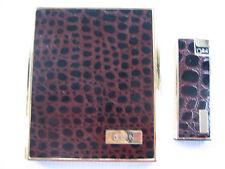 Vintage Colibri Brown, Gold Cigarette Case With Matching Lighter