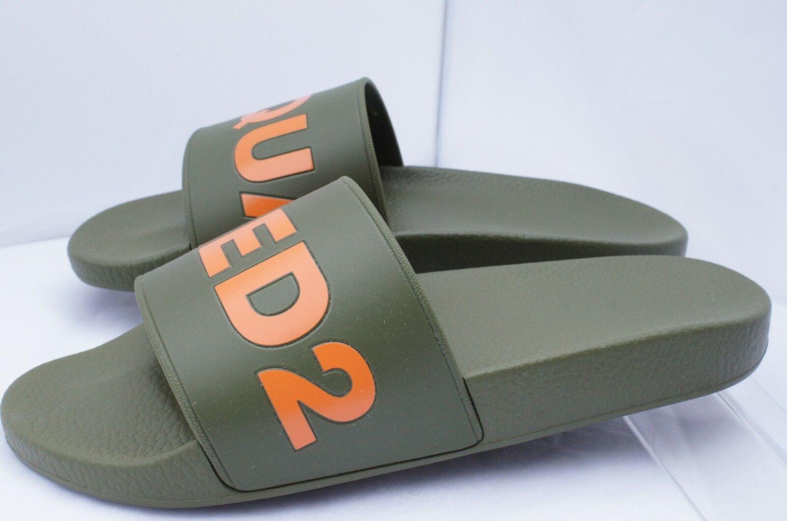 Nuevo Dsquarojo 2 para hombre Sandales verde Deslizante Duna insignia de goma Flip Flap