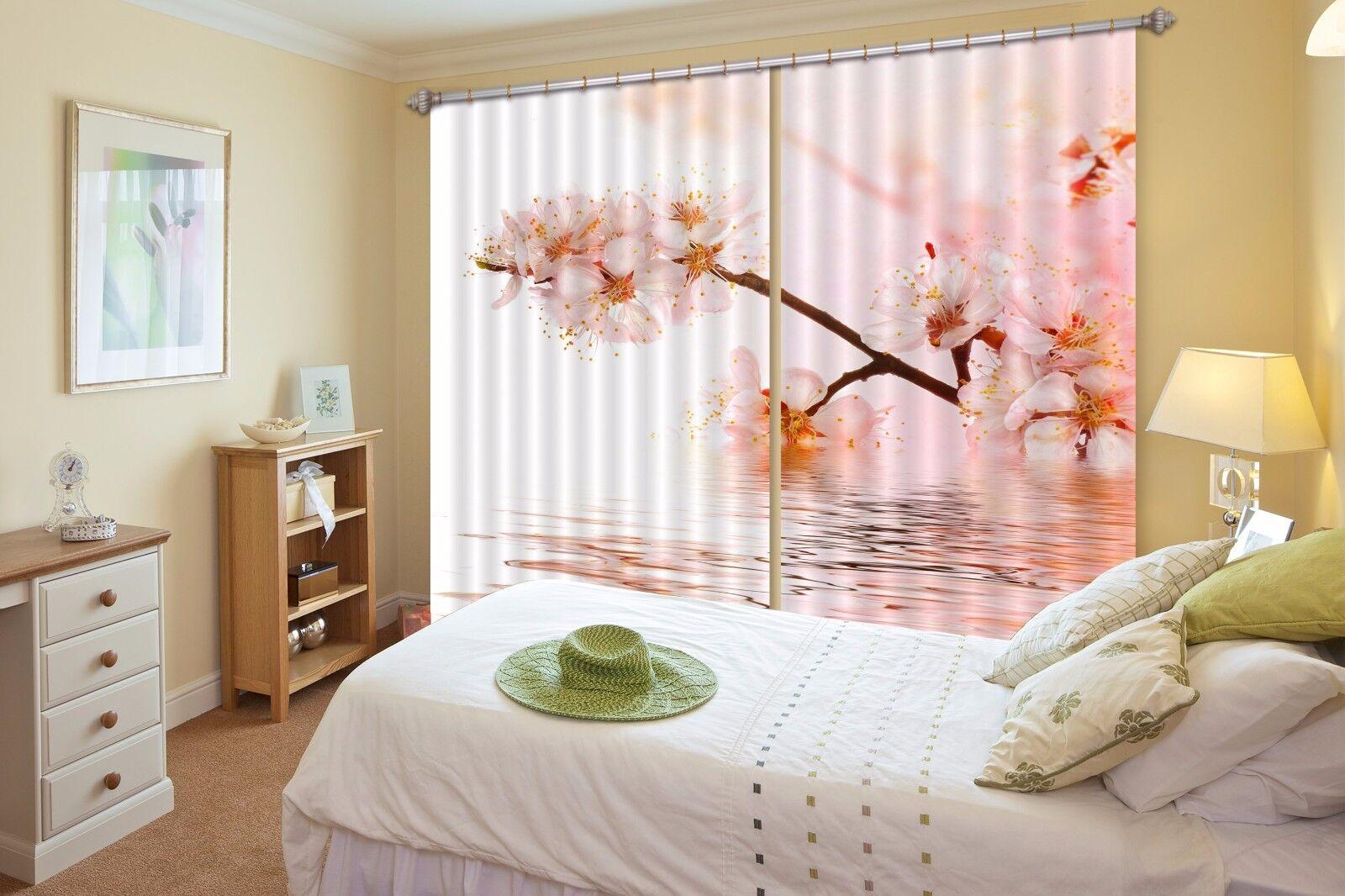 3D Melocotón Bloom Cortinas de impresión de cortina de foto 0 Blockout Tela Cortinas Ventana Reino Unido
