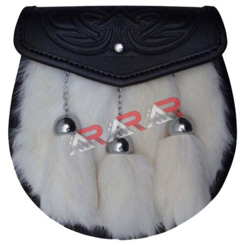 """Leather Sporran Flap Embossed Free Belt Chain 50/"""" Long 3 Tassels AAR White Fur"""