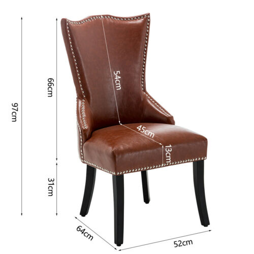 1/2/4x Faux Leather Dining Chairs Studs Wooden Legs Knocker Ring Home Restaurant