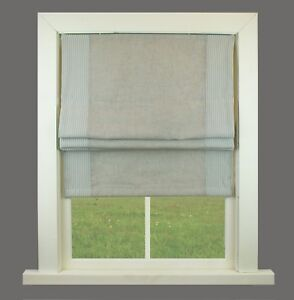 Pinstripe Grey Fully Lined Roman Blind Choice Of