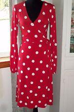 Oscar de la Renta Red Polka Dot Wrap Dress Women's Size 4