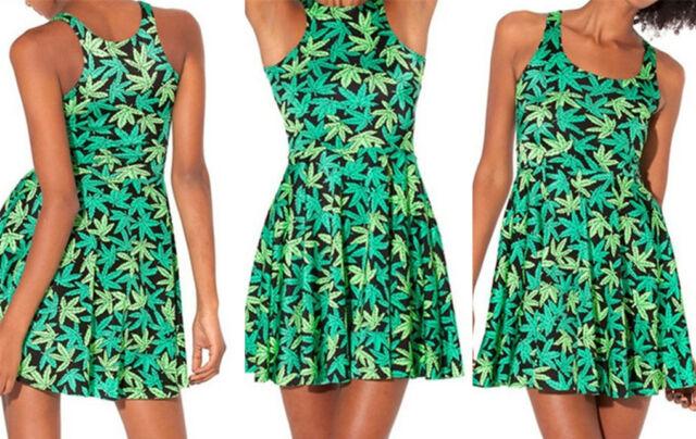 Cannabis Marijuana Hemp Leaf Print Women Sexy Vest skirt Dress size S M L XL 1#