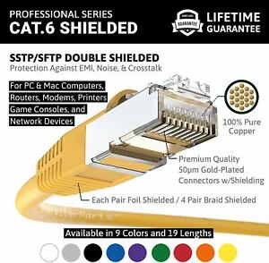 Professional Series Booted 50 FT SSTP//SFTP InstallerParts Ethernet Cable CAT6 Cable Shielded 10Gigabit//Sec Network//High Speed Internet Cable White 550MHZ