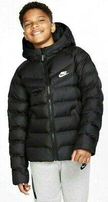 Nike Sportswear junior garçons filles hiver chaud rembourré Puffa Veste Manteau Noir Blanc | eBay
